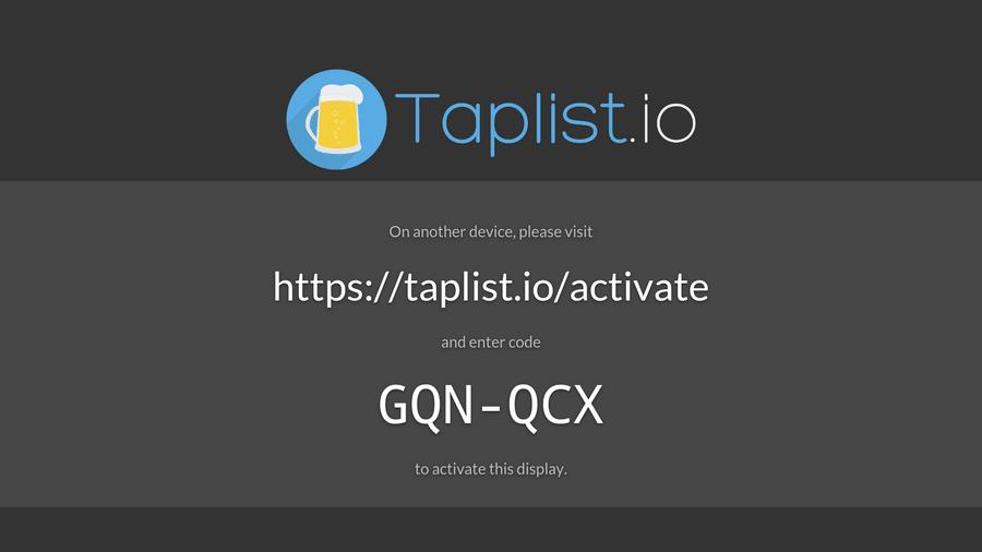 The Taplist.io pairing screen